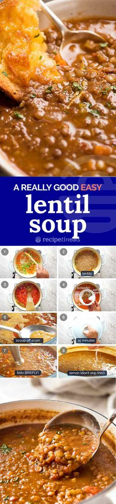 A really great Lentil Soup recipe that's super easy! A really great Lentil Soup recipe that's super easy! Lentil Soup Recipes, Veggie Recipes, Vegetarian Recipes, Cooking Recipes, Healthy Recipes, Recipe Tin, Soup And Sandwich, Soup And Salad, Soups And Stews