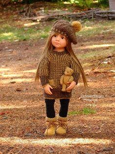OOAK Hand-Knit Sweater Dress/Beret for Gotz Happy Kidz dolls by Debonair Designs…