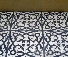 """Villa Lagoon encaustic tile, wrought iron, black and white, 8"""" tile, $8.26 per tile, matching black and gray tiles are $5.94 each."""