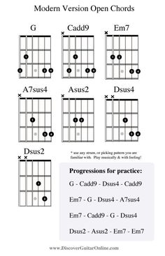 """""""modern"""" version open chords Discover Guitar Online, Learn to Play Guitar Blues Guitar Chords, Music Theory Guitar, Guitar Chords Beginner, Guitar Chords For Songs, Music Guitar, Playing Guitar, Ukulele, Learning Guitar, Guitar Scales"""