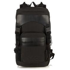 Y-3 Ultra backpack (6,185 MXN) ❤ liked on Polyvore featuring men's fashion, men's bags, men's backpacks, bags and black