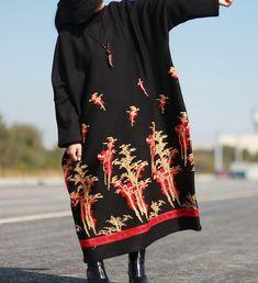 Winter maxi Dresses, women warm Dresses, Winter robes, Plus size Dresses, circle collar Dresses