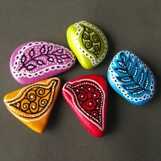 Painted beach pebbles magnets - set of 5 colorful magnets. $30.00, via Etsy.
