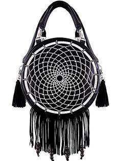 dd47a651a14c Black faux leather handbag with white embroidered dream catcher