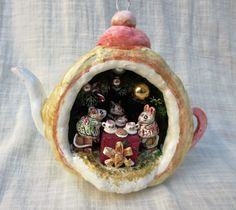 Signed Paper Papier Mache Diorama Christmas Ornament By Artist Jan Zimmer  | eBay