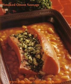 Onion and garlic filled smoked sausage with white beans in tomato sauce