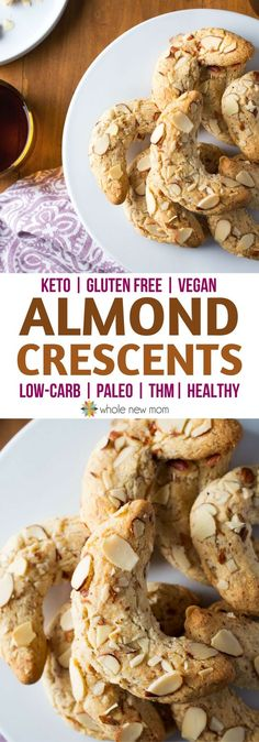 Almond Crescent Cookies grain-free & sugar free with a dairy free & low carb, keto option. #paleo #healthy via @wholenewmom