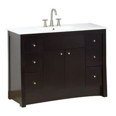 "American Imaginations 48"" Single Transitional Bathroom Vanity Set Faucet Mount:"