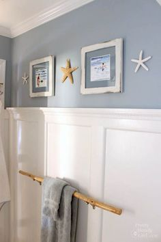 Seaside Theme Bathroom Refresh #LowesCreator | Pretty Handy Girl - I LOVE THE BRANCH TOWEL BAR. (love picture frames paint colors)