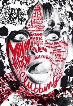 Nina Hagen Poster and postcard for Nina Hagen, Clubbing, at Casa da Música, March Sara Westermann Type Posters, Graphic Design Posters, Graphic Design Typography, Graphic Design Inspiration, Graphic Art, Poster Designs, Nina Hagen, Graphisches Design, Design Blog