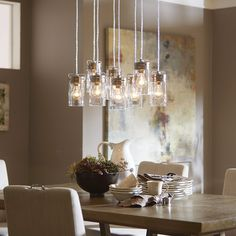 Shop allen + roth Vallymede 7.7-in Brushed Nickel Hardwired Standard Multi-Pendant Light with Clear Shade at Lowes.com
