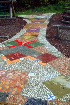 mosaic path    Probably not to this scale but we talked about something like this so the children can be part of our outdoor make over