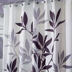 InterDesign Leaves Shower Curtain, Black and Gray, by Add stylish charm to the bathroom with this Gray Leaves fabric shower curtain from Gray Shower Curtains, Black Curtains, Bathroom Shower Curtains, Shower Tub, Stall Shower, Kitchen Curtains, Window Curtains, Yellow Bathrooms, White Bathroom