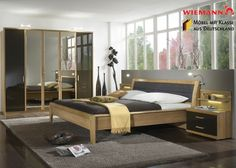 Schlafzimmer komplett Holz Erle Massiv Mocca 3762. Buy now at ...
