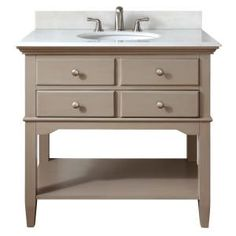Pegasus, Cannes 36 in. Vanity in Distressed Grey with Marble Vanity Top in White with White Basin, 10702-VS37J-GR at The Home Depot - Mobile
