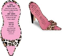 <b>OUT OF STOCK </b><br><br>What a Fun Invite! This die-cut high heel invitation folds out to a stand up high heel.  This is a unique invitation that is perfect for any ladies night out or bachelorette party!  This is designed with a fun black and brown leopard print on the outside and a light pink on the inside of the shoe.  Includes a white envelope.