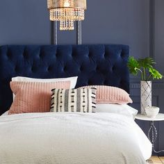 Audrey Ink Velvet Headboard - Bed and Bedcover Velvet Bedroom, Blue Bedroom, Bedroom Colors, Home Decor Bedroom, Modern Bedroom, Contemporary Bedroom, Navy Headboard, Velvet Headboard, Velvet Duvet