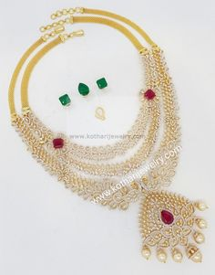 18 Carat gold multi way detachable diamond haram with interchangeable ruby and emerald stones by Kothari Jewelry. This diamond necklace can be worn in several different ways. Gold Bangle Bracelet, Gold Bangles, Diamond Necklace Set, Diamond Jewellery, Emerald Necklace, Bridal Jewelry, Gold Jewelry, Silver Engagement Rings, Ring Engagement
