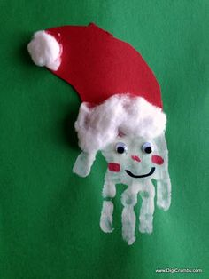 Here's a cute holiday decoration that my son made in Pre-School, a handprint Santa. I love decorations for holidays that double as keepsak. Christmas Arts And Crafts, Christmas Activities For Kids, Kids Christmas, Father Christmas, Toddler Crafts, Crafts For Kids, Love Decorations, Handprint Art, Holiday Fun