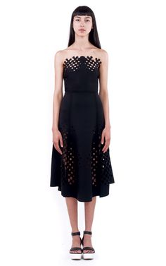 Rendered in black neoprene, this strapless Trophy dress features a fitted bodice and knee-length a-line skirt with allover laser-cut halftone graphics. Spring Looks, Retail Therapy, Fitted Bodice, A Line Skirts, Ready To Wear, Cool Designs, Formal Dresses, How To Wear, Shopping