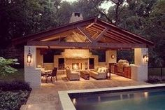 Talk about a pool house! Amazing outdoor living right here.. #interiordesign #interior #design #pool #poolhouse #outdoor #outdoors #outdoorliving #homedecor #decor #instadesign #instadecoration #instadecor #houzz #amazing #beautiful #poolhouse #fireplace #outdoorkitchen #livingspace #outdoorlife #outdoorliving #liveoutdoors #designsbydemarco