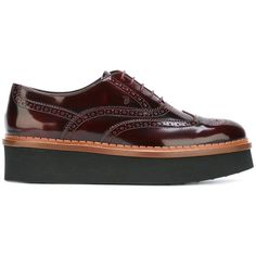 Tod's platform brogues (€475) ❤ liked on Polyvore featuring shoes, oxfords, red, balmoral oxfords, platform oxfords, leather shoes, red platform shoes and tods shoes
