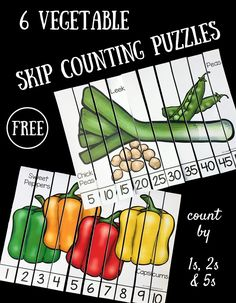 These free skip counting puzzles are great for kids to practice reading numerals and putting them in order. And they get to learn about vegetables, too! Skip Counting Activities, Counting Puzzles, Numeracy Activities, Number Puzzles, Learning Activities, Skip Counting By 2, Number Bonds, Nutrition Activities, Preschool Food