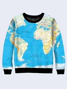 Women s female youthful sweatshirt print image World map Long sleeve Made  in Ukraine by Vilno on Etsy fe5c054569