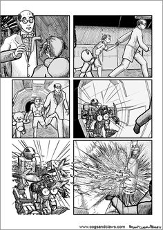 Cs&Cs wordless webcomic page 2000ad, Rocket Raccoon, Cogs, Tmnt, Robots, Starwars, Comic Books, Manga, Robotics