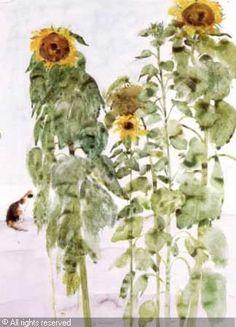 Elizabeth Blackadder http://www.artvalue.com/auctionresult--blackadder-elizabeth-violet-19-sunflowers-and-a-cat-882208.htm