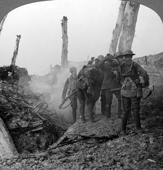 WWI, 1917; Interrogating a German soldier Hohenzollern Redoubt, France  -Getty Images