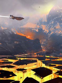Ces illustrations de mondes inspirés de la science-fiction sont l'oeuvre du français Nicolas Bouvier, aussi connu sous le pseudonyme de Sparth, il travaille à Seattle chez Microsoft comme directeur artistique où il réalise des concepts art pour la série de jeux vidéos Halo. Dans sa carrière il a aussi travaillé sur des jeux comme Alone …