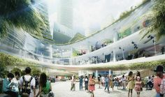 the proposal illustrates a dense, walkable neighborhood that incorporates a range of technology-oriented urban facilities.