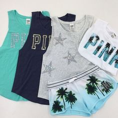 Victoria's secret PINK clothes! Love! I need the palm tree shirt and shorts
