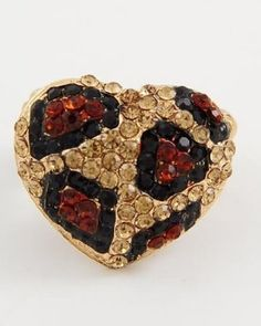 Leopard Pave Bling Heart Shaped Crystal & Rhinestone Size Free Adjustable Ring by Jersey Bling (BROWN LEOPARD): Jewelry: Amazon.com