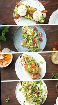 Avocado toast is already amazing, but why not make it better with bacon, eggs, slaw, tuna and other toppings? food recipes dinners healthy Avocado Toast 4 Ways Healthy Breakfast Recipes, Brunch Recipes, Healthy Snacks, Vegetarian Recipes, Healthy Eating, Cooking Recipes, Healthy Recipes, Healthy Nutrition, Avocado For Breakfast