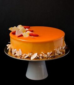 This coconut passion fruit entremet is a pastry masterpiece, not only thanks to its mirror glaze and perfect lines, but also due to its amazing taste! Cassis Fruit, Entremet Recipe, Passion Fruit Juice, Passion Fruit Mousse, Cake Recipes, Dessert Recipes, Fruit Dessert, Fruit Recipes, Decoration Patisserie