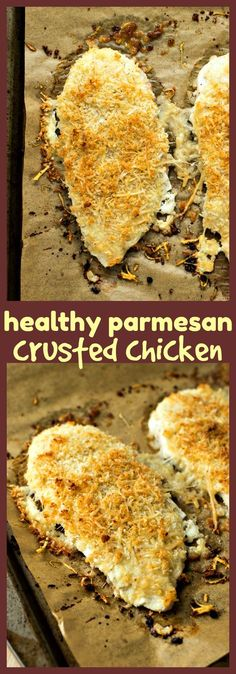 Healthy Parmesan Crusted Chicken – Chicken fillets covered in Parmesan cheese and seasoned panko bread crumbs and baked until perfectly crispy. No frying required! #recipes #chicken #healthy #dinner #easy
