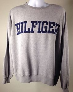 Vintage 90s Tommy Hilfiger Big Block Spellout Logo Flag Sweatshirt Hip Hop   eBay