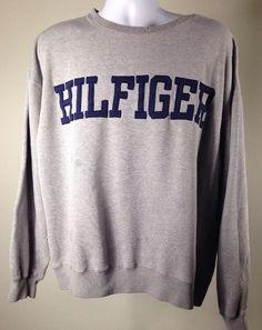 Vintage 90s Tommy Hilfiger Big Block Spellout Logo Flag Sweatshirt Hip Hop | eBay