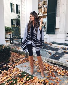 LOVE everything about this! Even the leaves are perfect!!! poncho + boots = outfit perfection