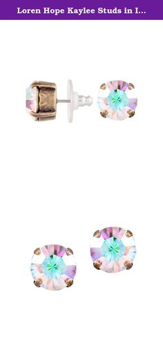 """Loren Hope Kaylee Studs in Iridescent. The Loren Hope Kaylee studs are perfect for the days when you don't want to go all out, but still want a touch of glam. Brass ox finish, surgical steel posts, 0.25"""" (6.35mm) across. HANDMADE IN THE USA."""