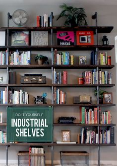 We are excited to share our latest project, our DIY industrial shelves that we built for our library.We are excited to share our latest project, our DIY industrial shelves that we built for our library. Shelves, Industrial House, Bookshelves Diy, Industrial Shelf Diy, Industrial Shelving, Industrial Interiors, Home Diy, Industrial Home Design, Home Library Diy