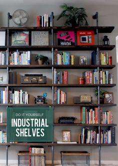 DIY // Industrial Shelves for Library