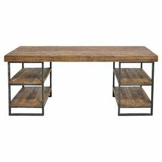 """Pairing industrial iron with rustic pine wood, this handsome desk is the perfect place to pen thank you notes and balance your checkbook. 4 open shelves are ideal for holding pull-out baskets filled with paper and pens.   Product: DeskConstruction Material: Pine wood and ironColor: NaturalFeatures: Four open shelvesDimensions: 30"""" H x 67"""" W x 23"""" D Cleaning and Care: Wipe clean with dry cloth. Do not clean with harsh chemicals."""