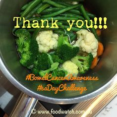 Thanks to everyone who made my Vegie Challenge a great success this week!! Reckon it's done a lot to make you aware of the need to eat 5 serves of vegetables or salad a day. Well I hope so. And remind you of how we can work to prevent bowel cancer for #bowelcanceraustralia Awareness. Big hugs to @dietitianconnection @healthyhomecafe @everydaycurator @maidietitian @the_diabetic_dietitian and @kandyshepherd for taking up the challenge so early! Not forgetting @nutritionmunch @mountfromegarlic…