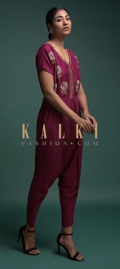 Buy Online from the link below. We ship worldwide (Free Shipping over US$100)  Click Anywhere to Tag Wine-Dhoti-Style-Jumpsuit-In-Crepe-With-Embroidered-Floral-Motifs-Online-Kalki-Fashion Wine Tags, Floral Motif, Salwar Kameez, Capri Pants, Jumpsuit, Free Shipping, Link, Stuff To Buy, Outfits