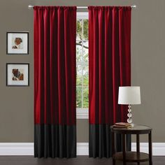 @Overstock - These attractive red and black curtain panels are the perfect way to dress up any window. The soft faux silk feels and looks great on these curtains, and the energy savings are an added bonus.http://www.overstock.com/Home-Garden/Lush-Decor-Red-Black-Milione-Fiori-Curtain-Panels-Set-of-2/6803786/product.html?CID=214117 $39.49