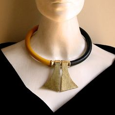 TOK Handmade African necklace -african jewelry- Leather & brass necklace- Fashion limited edition - Designer necklace- Tribal necklace