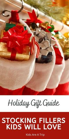 Kicking off the holiday season by sharing some of our favorite stocking stuffer ideas for kids. We have something for all ages, and you won't have to worry about what to put in kids stockings this year! - Kids Are A Trip |stocking stuffers for kids| stocking stuffer ideas|holiday gift guide| gifts for kids| stocking fillers for kids| stocking filler ideas| stocking fillers